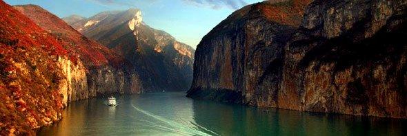 Der Fluß Yangtze in China ist der drittlängste Fluß der Erde