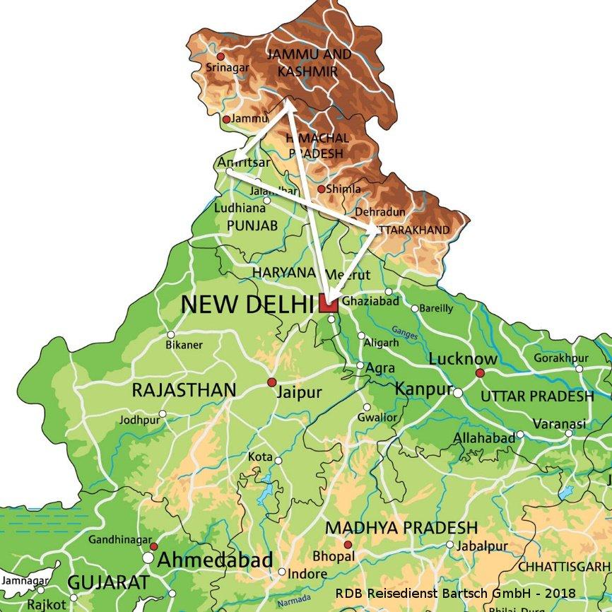 Karte mit Reiseverlauf Nordindien